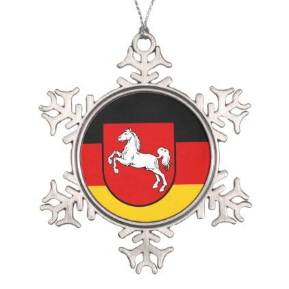 Flag of Lower Saxony Snowflake Pewter Christmas Ornament - white gifts elegant diy gift ideas