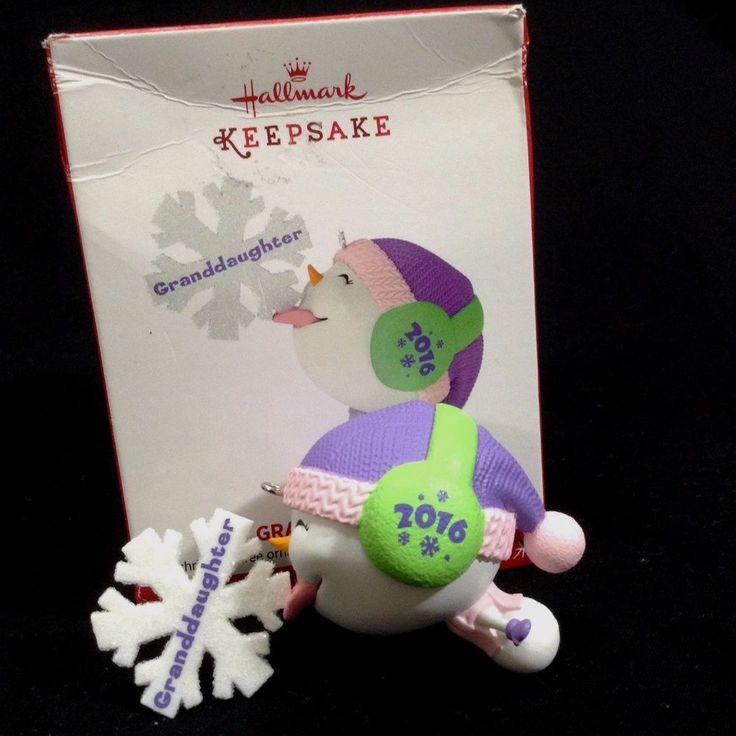"2016 Granddaughter #hallmarkkeepsake  Keepsake 3"" Ornament #Snowflake  Dated Earmuff Box"