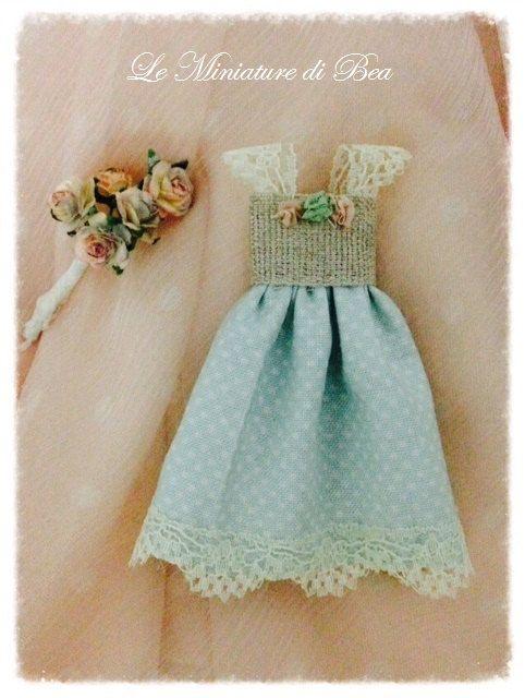 1/12 baby girl dress miniature - dolls house - hand made - shabby chic