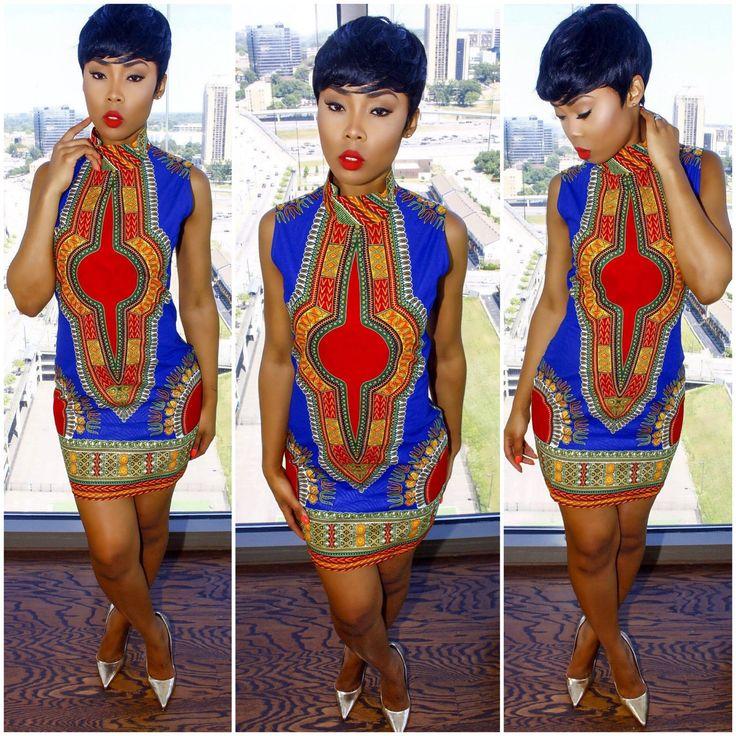 High-neck Print Sleeveless Bodycon Short Dress