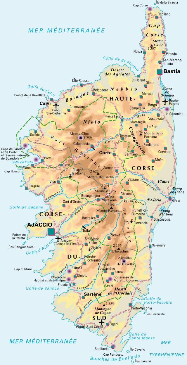 Carte de la Corse Detaillee   Honeymoon idėjos   Pinterest ...