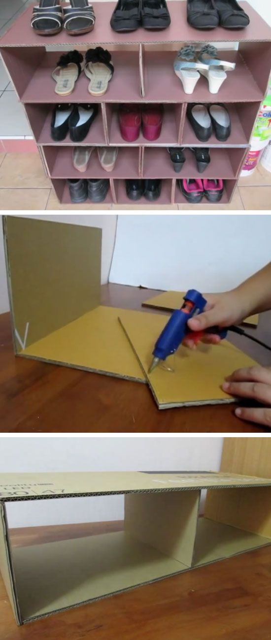 Shoe Rack From Recycled Cardboard | 22 DIY Shoe Storage Ideas Dollar Stores