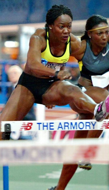 Yvette Lewis in the 60-meter hurdles at the 106th Millrose Games .