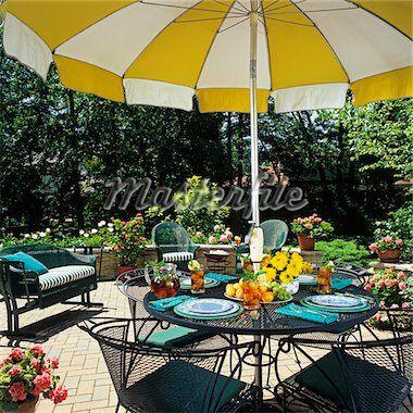 Retro Patio Furniture Yellow And White Umbrella   Google Search