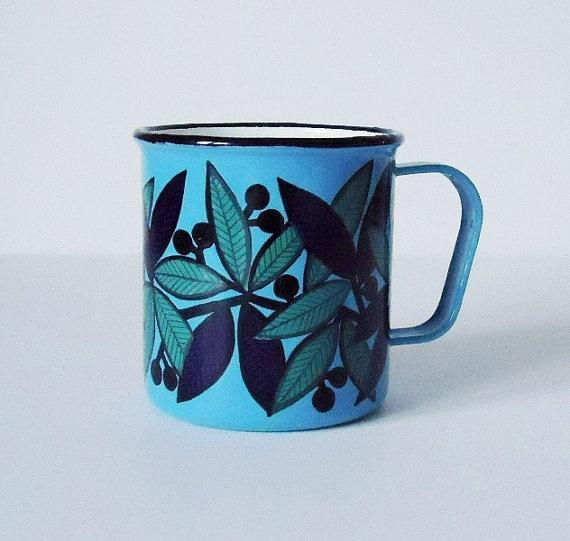 Finel Finland Turquoise Enamel Mug  Finel by SwirlingOrange11