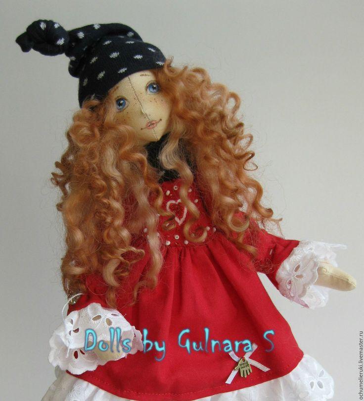Купить Текстильная каркасная кукла. Авторская работа - ярко-красный, тильда, каркасная кукла
