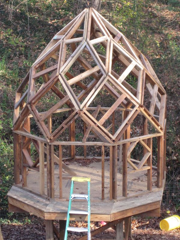 """Reclaimed wooden """"zome"""" structures are an expression of nature's double helix : TreeHugger"""