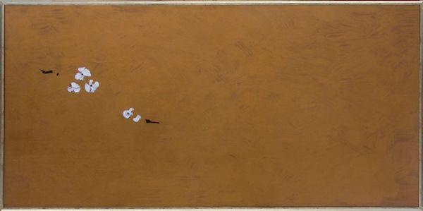 Fleurs, 2013, collage, goudverf op paneel, 152x77cm
