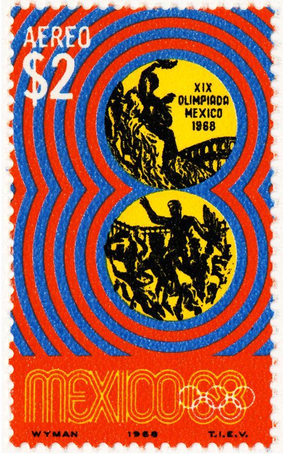 Estampilla Conmemorativa de $2.00 pesos para los Juegos de la XIX Olimpiada. México 68.