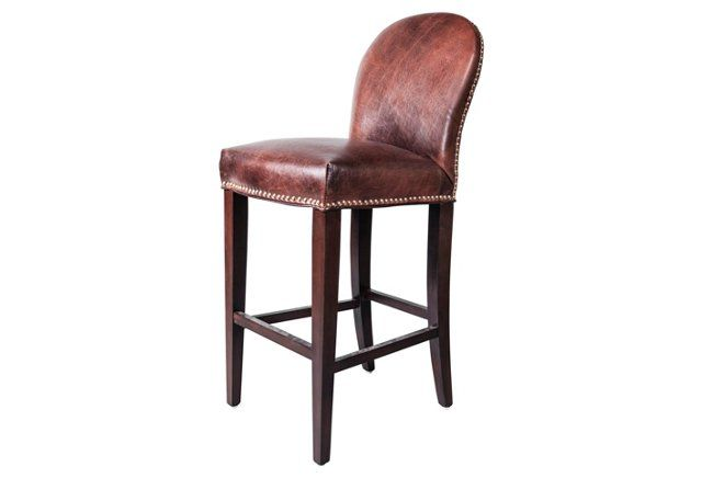 Piedmont Leather Stool, Tannery Brown