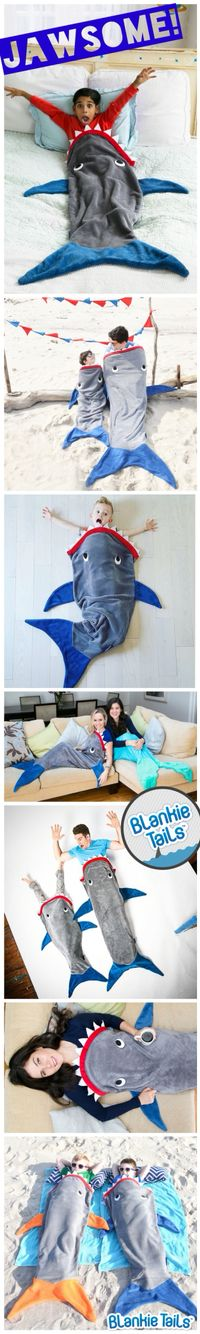 Shark Week ia just around the corner...can you think of a more JAWSOME gift to celebrate than a Blankie Tails™ Shark Blanket?! Available in kids, teen/adult and toddler sizes, Blankie Tails™ make the perfect gift for all the shark enthusiasts in your life.  #thesnuggleisreal