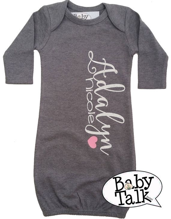 Best 25 personalized baby gifts ideas on pinterest baby name baby layette gown personalized custom glitter name birth announcement newborn baby gown coming home outfit shower gift grey pink negle Gallery