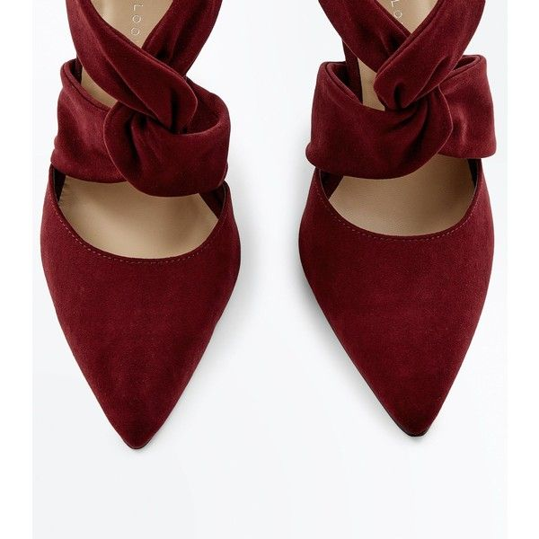 Wide Fit Burgundy Suedette Twist Strap Front Heels (680 EGP) ❤ liked on Polyvore featuring shoes, pumps, wide width shoes, wide pumps, wide shoes, burgundy shoes and burgundy pumps
