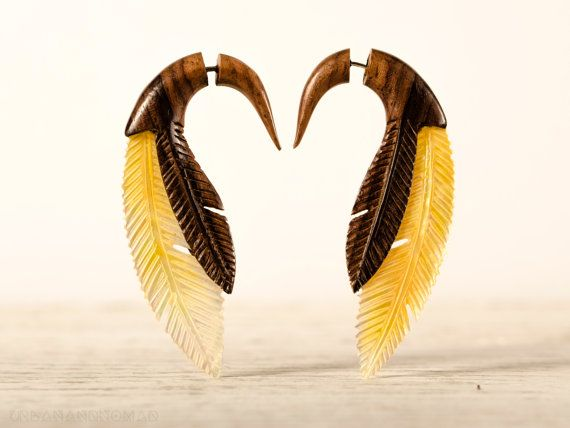 Fake Gauge Earrings Feather Wood and Shell Tribal by organicethnic