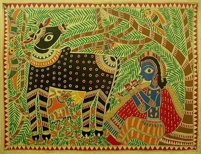 Spiritual Madhubani Folk Art Painting - Krishna's Song | NOVICA