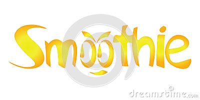 #Golden #smoothie #word with an abstract #smile/ talking/ #spunky #face made from the two O #letters, on white background