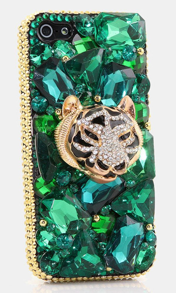 Emerald Tiger Design bling case made for Samsung Galaxy S3/ S4/ S5 Samsung Note 3/ 4/ 5 iPhone 6/ 6S Plus Nokia Lumia Black Berry HTC Motomola and other devices. Crystal bling phone case for girls. http://luxaddiction.com/collections/3d-designs/products/emerald-tiger-design-style-740