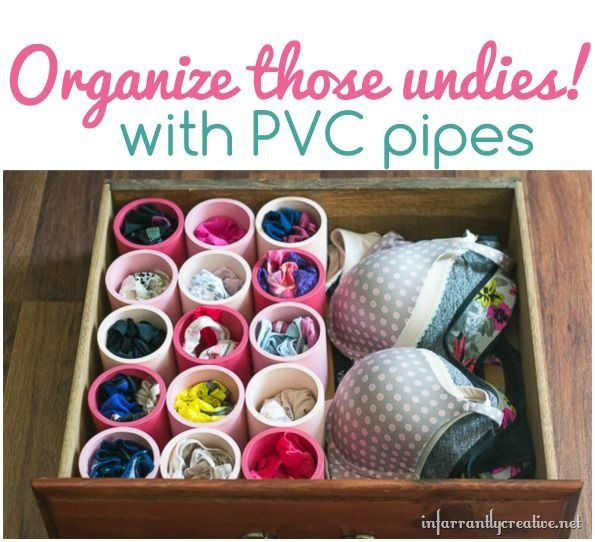 Drawer Organization Idea --- Organize those undies with PVC pipes!