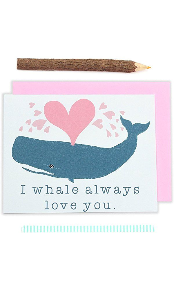 Whale Card, Whale Love, Sea Life, Ocean Creature, Hearts, Love Card, Boyfriend - One Card Best Price