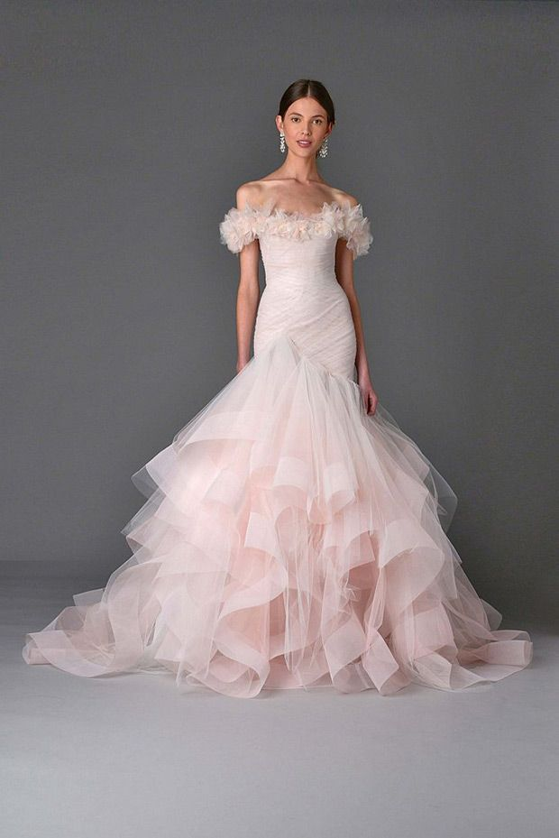 Dress 15 from Marchesa wedding dresses Spring 2017 - Full skirted trumpet dress with a tiered tulle and organza skirt trimmed. Ruffled off the shoulder sleeves. Blush Pink- see the rest of the collection on www.onefabday.com