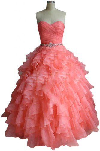 Sunvary Fashion Sweetheart Ball Gown Organza Prom Dress Pageant Quinceanera Dress - US Size 2- Watermelon Sunvary http://www.amazon.com/dp/B00HJ1IP1E/ref=cm_sw_r_pi_dp_RUysub1TE2TMD