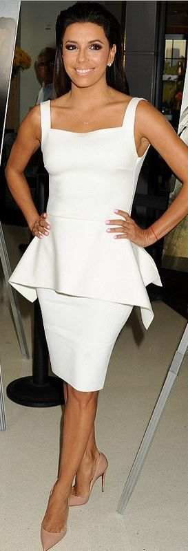 Who made Eva Longoria's white peplum dress and nude pumps that she wore in Los Angeles on August 21, 2014