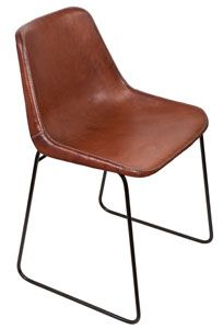 Giron Iron U0026 Leather Dining Chair   Brown
