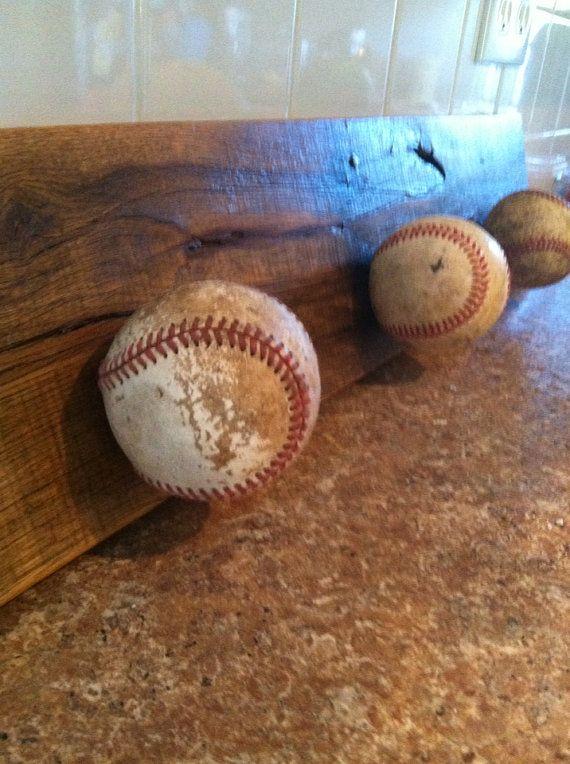 Baseball sign on reclaimed pallet wood with baseball hook----boys room decor
