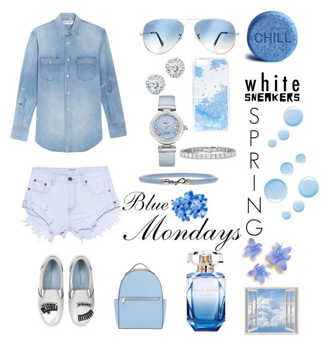 """Blue_Mondays"" by aliciak60 on Polyvore featuring One Teaspoon, Yves Saint Laurent, Chiara Ferragni, Ray-Ban, Skinnydip, Kobelli, OMEGA, Golden Goose, Topshop and Elie Saab"