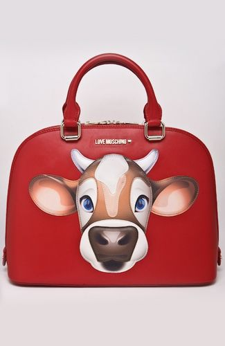 Love Moschino bag Red bag with applique cow design, rounded shape, handle, inner pockets. 34 cm width at the bottom. 100%POLYURETHANE Code: JC4085PP1JLM0