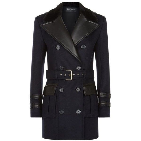 Balmain Wool Trench Coat found on Polyvore featuring outerwear, coats, woolen trench coat, double breasted woolen coat, belted coat, navy blue wool coat and double-breasted coat