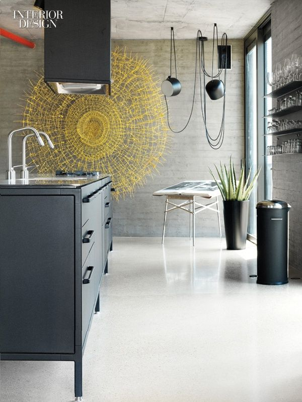 Uri Michael Palan Draws on Pierre Koenig for Tel Aviv Apartment - black kitchen