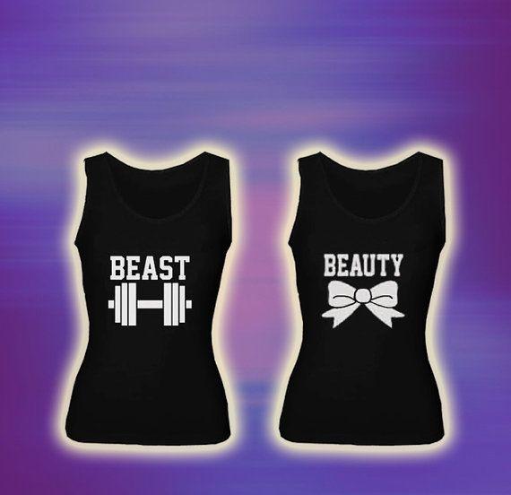 Beast & Beauty funny workout COUPLE Tank top T by laskarspelangi, $39.98