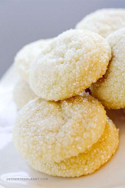Big, Fat, Soft Almond Sugar Cookies. Soft, sightly chewy, absolutely NO rolling and cutting! The BEST.   DessertedPlanet.com