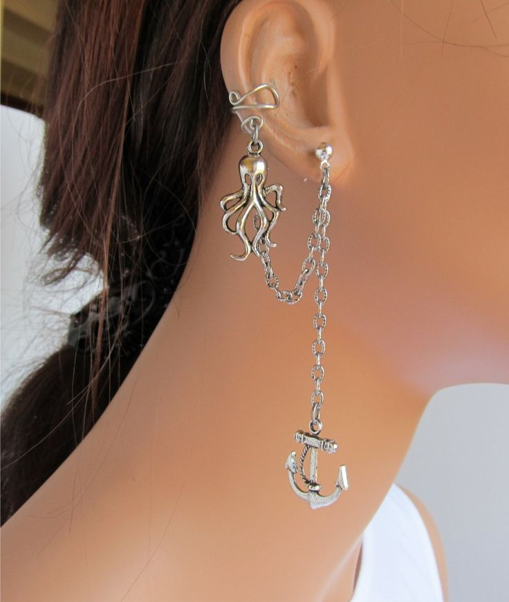 Ear Cuff With Chain And Silver Octopus and Anchor