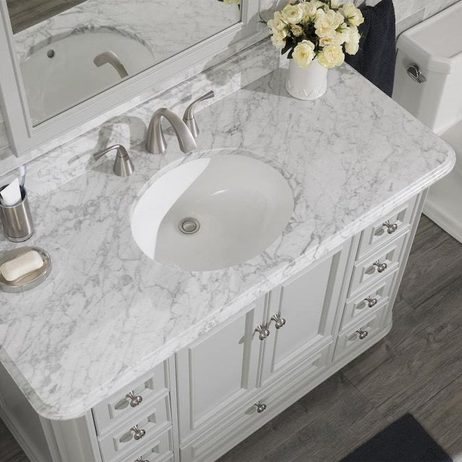 Allen Roth Wrightsville 48 In Light Gray Single Sink Bathroom Vanity With Natural Carrara Marble Top Lowes Com In 2020 Single Sink Bathroom Vanity Bathroom Sink Vanity Marble Bathroom Vanity