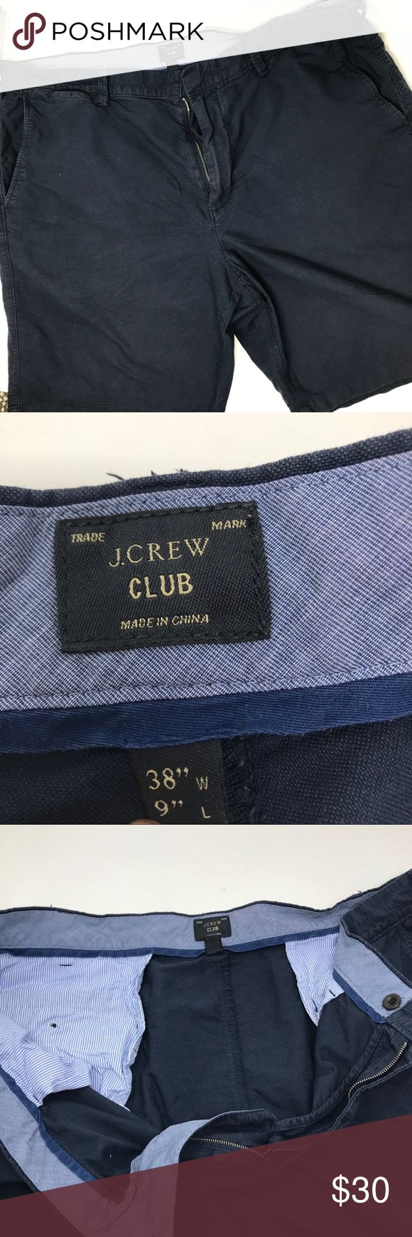 J. Crew club shorts navy linen Gently used condition , size 38 , great linen faded navy blue color J. Crew Shorts Flat Front