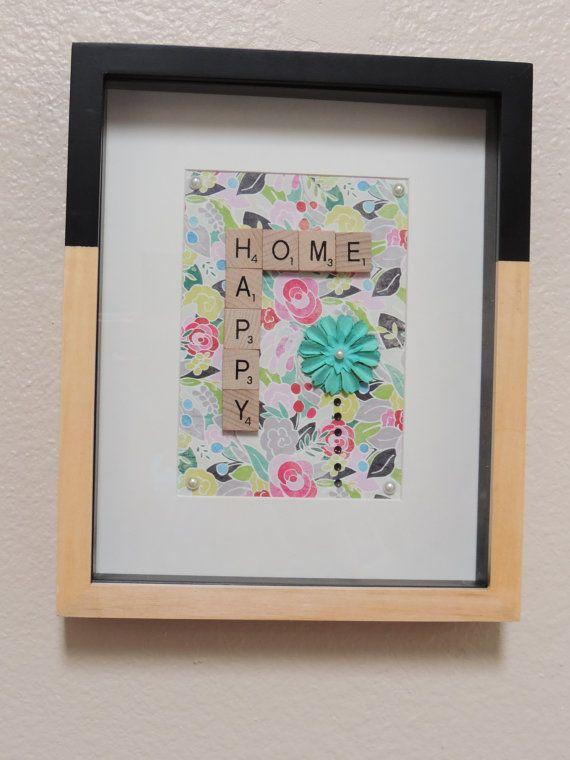 Scrabble+Art+'Happy+Home'+frame.+by+SpellingBeeArt+on+Etsy,+$33.00