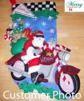Cruising Santa Bucilla Felt Applique Stocking Kit ~ Customer photo.  For Bobby