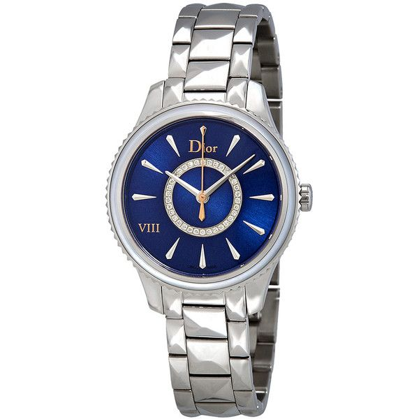 Dior Dior VIII Montaigne Ladies Watch (19.880 DKK) ❤ liked on Polyvore featuring jewelry, watches, stainless steel jewellery, deep blue watches, christian dior watches, quartz movement watches and crown jewelry