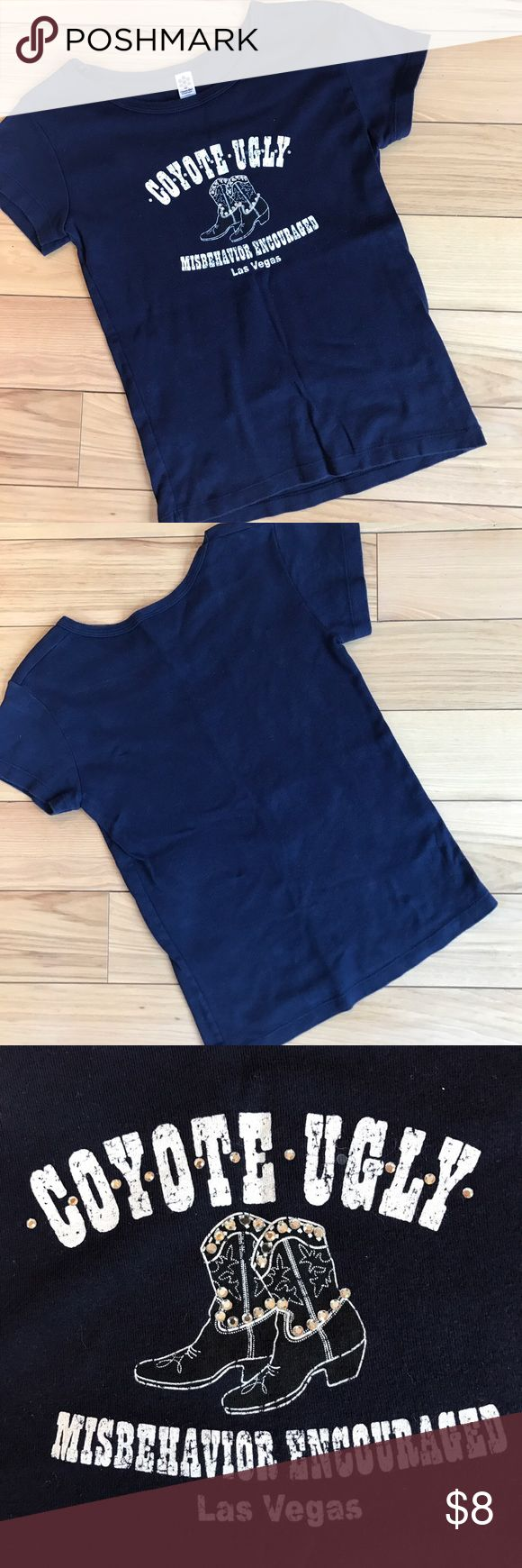 """Coyote Ugly Las Vegas Blue T-Shirt EUC Coyote Ugly Misbehaving Las Vegas T-Shirt. Blue with studded accents. Size Medium. Measurements taken while laying flat. Length 20"""" Bust 26"""" Waist 26"""" Tops Tees - Short Sleeve"""