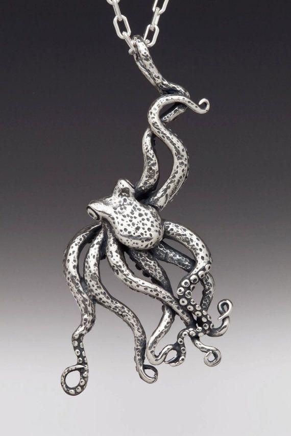Oktopus-Halskette Silber große Octopus Octopus von martymagic
