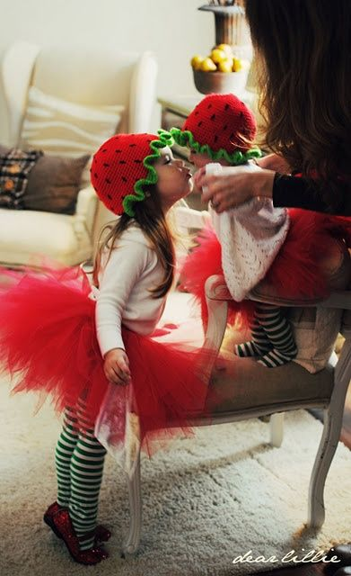 Strawberry Shortcake and a strawberry omg....sister sibling costumes are so adorable
