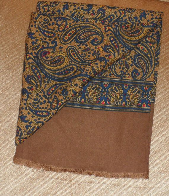SILK PAISLEY SCARF/ 1950s Double Fold Silk Scarf/ by BYGONERA