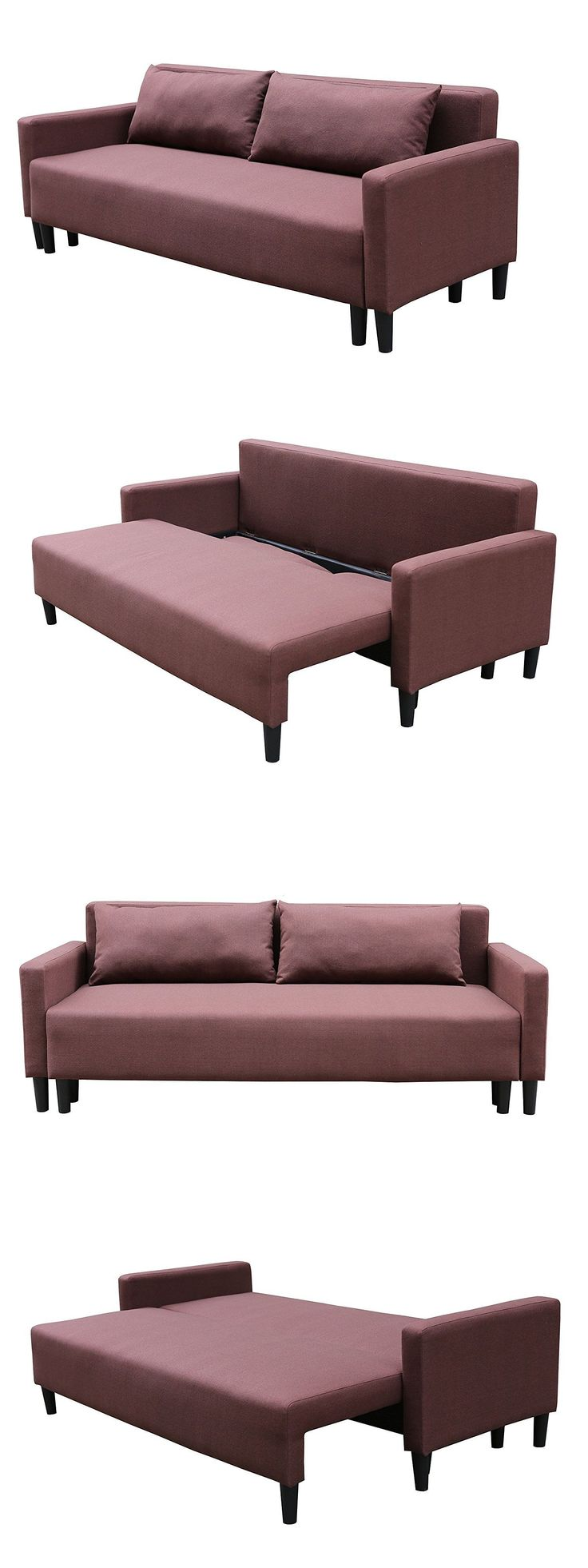 furniture: Futon Sofa Couch Bed Sleeper Convertible Modern Living Room Furniture Brown Wood -> BUY IT NOW ONLY: $175.85 on eBay!