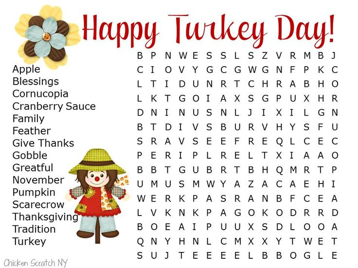 Thanksgiving Word Search Printable for Kids by @Alecia @ ChickenScratch NY
