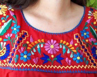 Summer Top Frida Kahlo Mexican Top Hippie-Boho Blouse Colorful Mexican Blouse Frida Kahlo Style Free Shipping. Floral Blouse