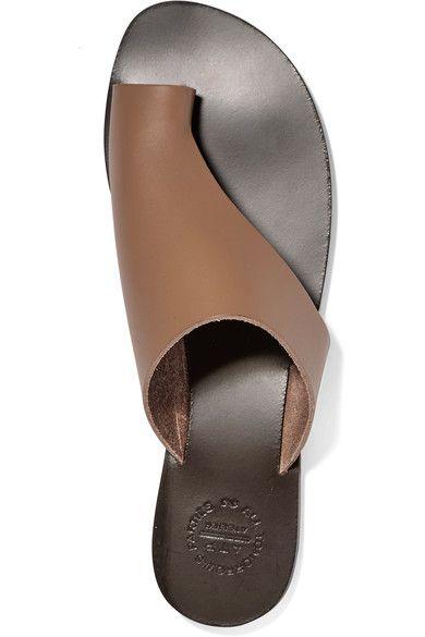 ATP Atelier - Rosa Cutout Leather Slides - Mushroom - IT40