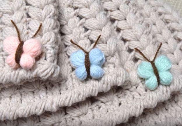 Farfalle a uncinetto con punto puff – Video Tutorial