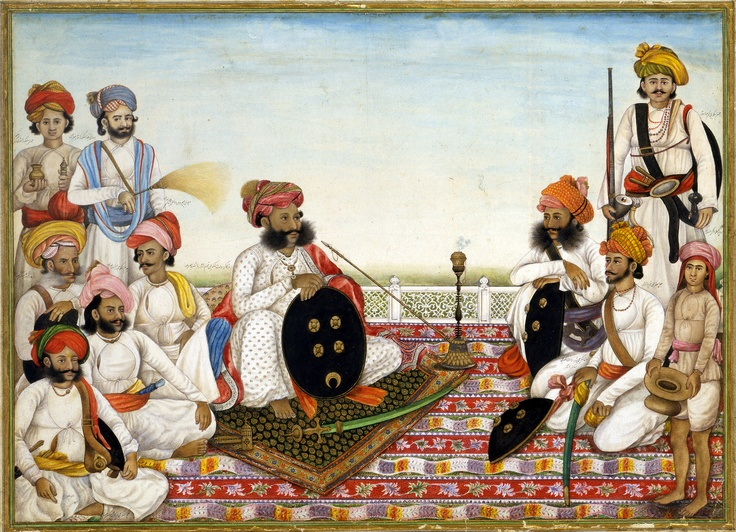 """Miniature. """"Thakur Dawlat Singh Among Courtiers"""" India, Delhi; c. 1825 Miniature: 27.6 × 38.5 cm This was the beginning of Company painting, named after the East India Company, the commercial forerunner of Britain's takeover of India in 1858. The Indian leader from Jodhpur and his men, all of them identified by name, were rendered painstakingly and with great individuality. The painting has been attributed to Ghulam Ali Khan."""